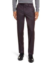 Ted Baker Jefferson Flat Front Solid Wool Dress Pants - Purple