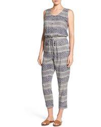 Caslon - Caslon Sleeveless Woven Drawstring Waist Jumpsuit - Lyst