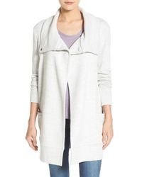 Caslon Caslon Convertible Collar Sweater Coat - Gray