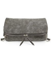 Phase 3 - Faux Leather Zip Around Foldover Clutch - Lyst