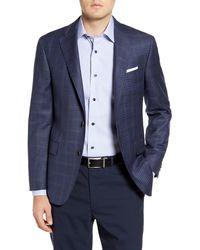 Hickey Freeman Modern H Fit Check Wool Sport Coat - Blue