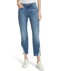FRAME - Le Boy Ripped Straight Leg Jeans - Lyst
