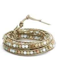Chan Luu - Beaded Leather Wrap Bracelet - Amazonite Multi - Lyst