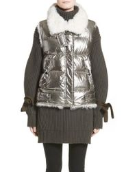 Moncler - Kerria Metallic Down Vest With Genuine Shearling Trim - Lyst