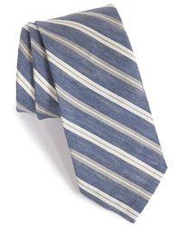 Maker & Company Stripe Silk & Linen Tie - Gray