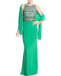 JVN By Jovani - Embellished Illusion Gown & Shawl - Lyst