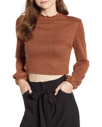 Mimi Chica - Puff Sleeve Ribbed Crop Top - Lyst