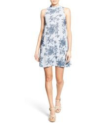 Way-in - Embroidered Mock Neck Shift Dress - Lyst