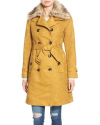 Steve Madden Faux Suede Trench Coat With Faux Fur Collar - Yellow