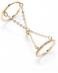 Danielle Nicole Linked Crystal Ring Set - Metallic