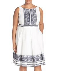 Taylor Dresses - Embroidered Cotton Voile Fit & Flare Dress - Lyst