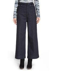 Proenza Schouler Wide Leg Crop Denim Pants - Blue