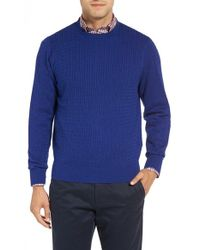 David Donahue - Cable Knit Crewneck Sweater - Lyst
