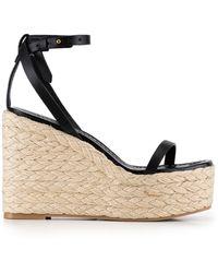 FRAME Le Venice Espadrille Platform Wedge Sandal - Black