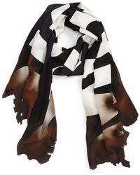 Moschino 'burn' Logo Silk Scarf - Black