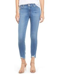 PAIGE Verdugo Distressed Ankle Skinny Jeans - Blue