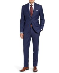 David Donahue Ryan Classic Fit Check Wool Suit - Blue