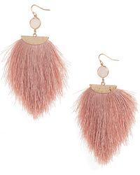 Panacea Ultra Fringe Earrings - Pink