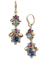 Marchesa - Crystal Cluster Double Drop Earrings - Lyst