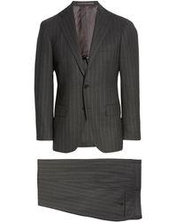 Ring Jacket Balloon Fresco Slim Fit Stripe Wool Suit - Gray
