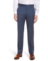 Zanella - Devon Flat Front Solid Wool Serge Trousers - Lyst