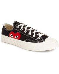 Comme des Garçons Large Emblem Low Top Canvas Sneakers - Black
