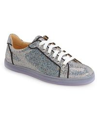 christian louboutin strass metallic leather sneakers