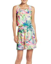 Lilly Pulitzer - Lilly Pulitzer 'hilah' Floral Print Mesh Overlay Crop Top & Miniskirt Set - Lyst