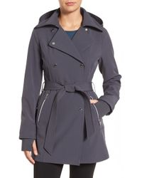 Jessica Simpson - Double Breasted Soft Shell Trench Coat - Lyst