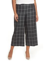 Sejour - Windowpane Check Wide Leg Crop Pants - Lyst