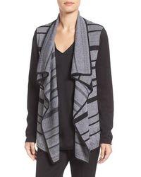 Ivanka Trump - Cozy Stripe Drape Front Cardigan - Lyst