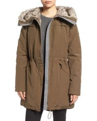 Vince Camuto Parka With Faux Fur Lined Hood - Multicolor