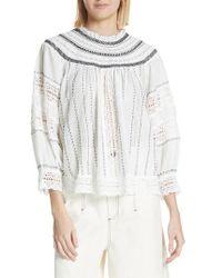 Sea - Louisa Crochet Peasant Top - Lyst