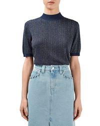 Topshop Unique - 'lamont' Short Sleeve Metallic Stripe Sweater - Lyst