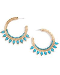 Danielle Nicole | 'golden Burst' Reconstituted Turquoise Hoop Earrings | Lyst