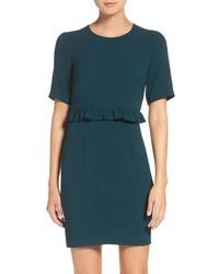 Charles Henry Ruffle Crepe Sheath Dress - Multicolour