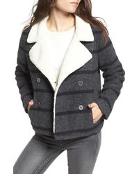 Amuse Society - Rhodes Stripe Peacoat With Faux Fur Lining - Lyst