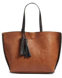 Phase 3 - Whipstitch Tassel Faux Leather Tote - Lyst