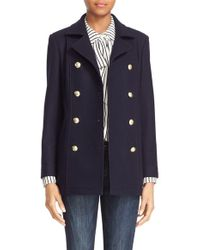 FRAME Double Breasted Wool Peacoat - Blue