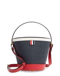 Thom Browne Sand Pebble Leather Bucket Bag - - Blue