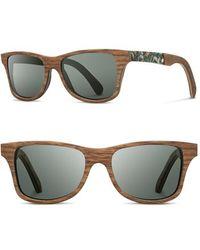 Shwood 'canby' 55mm Polarized Wood & Seashell Inlay Sunglasses - Walnut/ Seashell/ G15 Polar - Gray