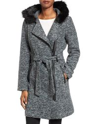Steve Madden Asymmetrical Hooded Coat With Faux Fur Trim - Gray
