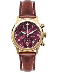 Jack Mason Brand Aviation Chronograph Leather Strap Watch - Multicolour