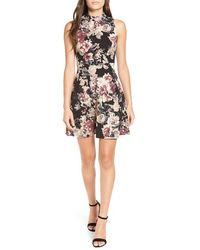 Soprano Floral Print Skater Dress - Black