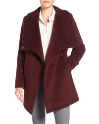 Belle By Badgley Mischka - Badgley Mischka 'anna' Brushed Wool Blend Coat - Lyst