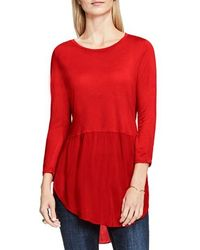 Two By Vince Camuto Mixed Media Tunic - Red
