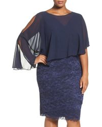 Marina - Capelet Lace Sheath Dress - Lyst