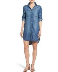 Side Stitch Button Vent Chambray Shirtdress - Blue