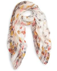 Hinge - Playful Poppies Lace Inset Scarf - Lyst