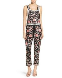 Needle & Thread - Black Cherry Blossom Embroidered Dungarees - Lyst